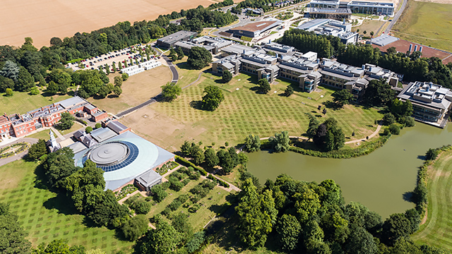 wellcome genome campus aerial view conference centre foreground