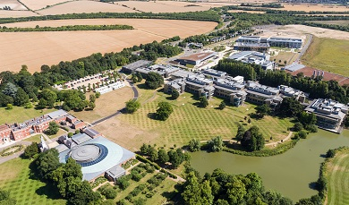 Wellcome Genome Campus achievements and uniqueness view from air drone picture careers