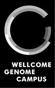 Wellcome Genome Campus logo monotone for overlays portrait RGB